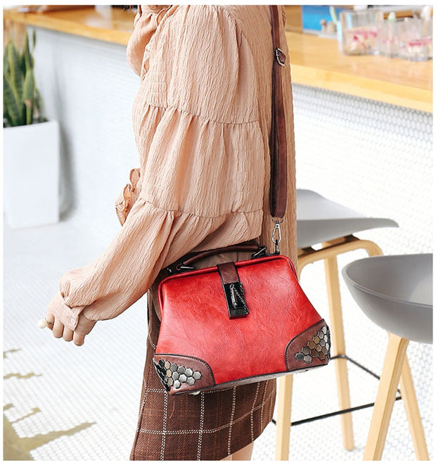 Rivets Leather Fashion Multi-Purpose bag