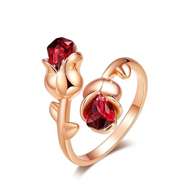 Light Siam Crystals Rose Flower Adjustable Ring Valentine Gift for Women