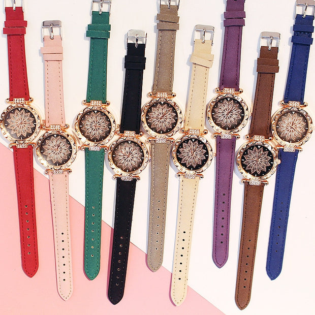 Casual Leather Luxury Ladies Bracelet Wristwatch