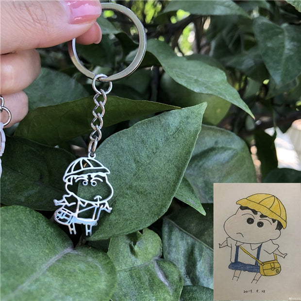 Personalized Children's Drawing Necklace Keychains Customized