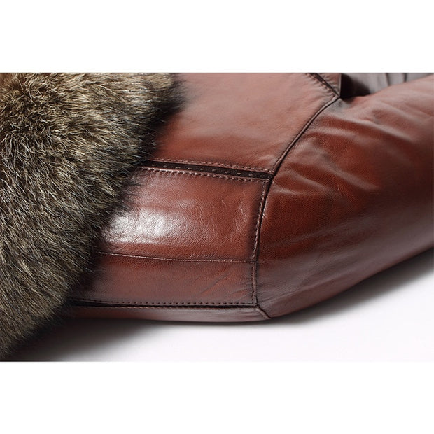 Sheepskin Leather large Raccoon Fur collar Jacket