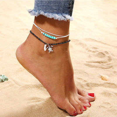 Sea Turtles Bohemia Beads Anklet