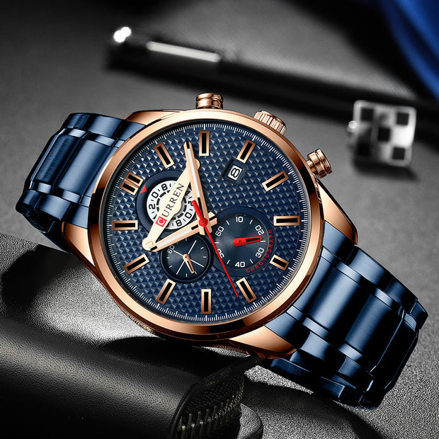 Fashion Creative Chronograph Men Watches Sports/ Business Stainless Steel