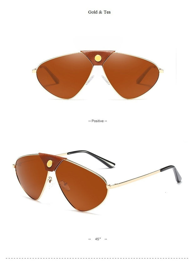 Luxury Leather Polarized Unisex Mirror Sun Glasses