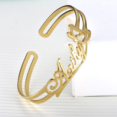 Personalized Engraved Custom Name Bracelet Charms Handmade Women / Kids Jewelry  Customized Gift