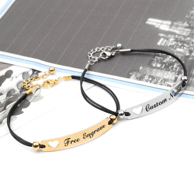 Personalized Engraved Gold/ Silver Couples/Unisex Rope Stainless Steel Bracelet