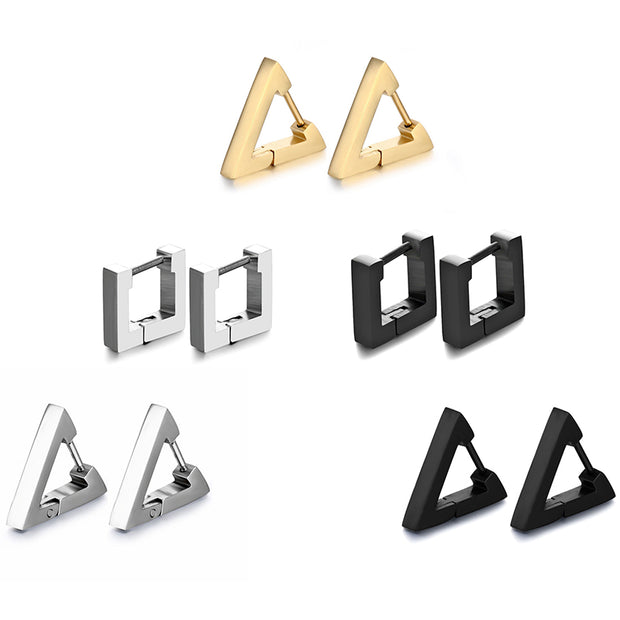 Fashion 316L Medical Stainless Steel Anti-allergic Creative Hoop Unisex Triangular Square Earring