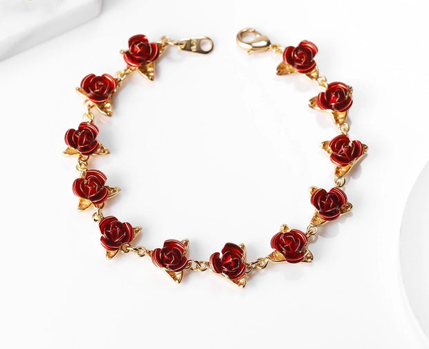 Red Rose Flowers Wrist Charm Chain Bracelets for Women best-friend's gift / Mother's Day Gifts