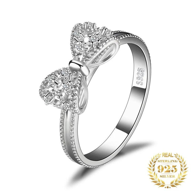 Bow knot Anniversary Cubic Zirconia Rings 925 Sterling Silver Rings for Women