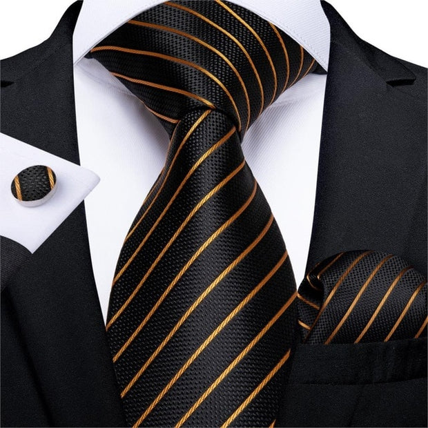 Luxury Fashion Gold / Blue / Black Striped Paisley Silk Party / Wedding Tie Hanky Cufflinks Gift Tie Set