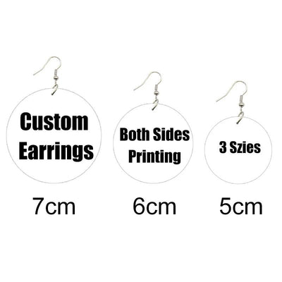 Multi-Sizes Customized PHOTO Round Wooden Drop Earrings Front Back Print Handmade