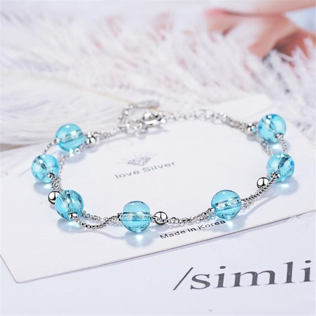 Double Layer Blue Artificial Crystal 925 Sterling Silver Jewelry Personality Sweet Transfer Beads Bracelets
