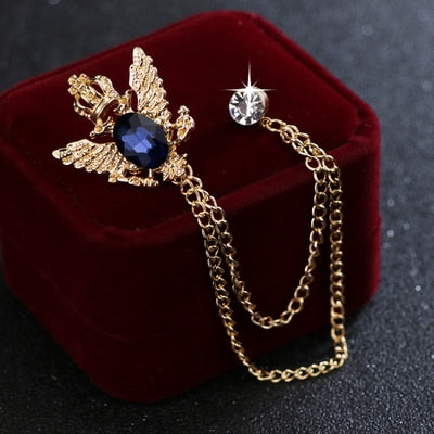 Anncient ways small suit crown double-headed eagle wings brooch Fashion male corsage crystal chain tassel badge pin