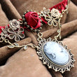 New Stylish Cameo Red Rose Lace Fashion Jewelry Women's Gift Necklace