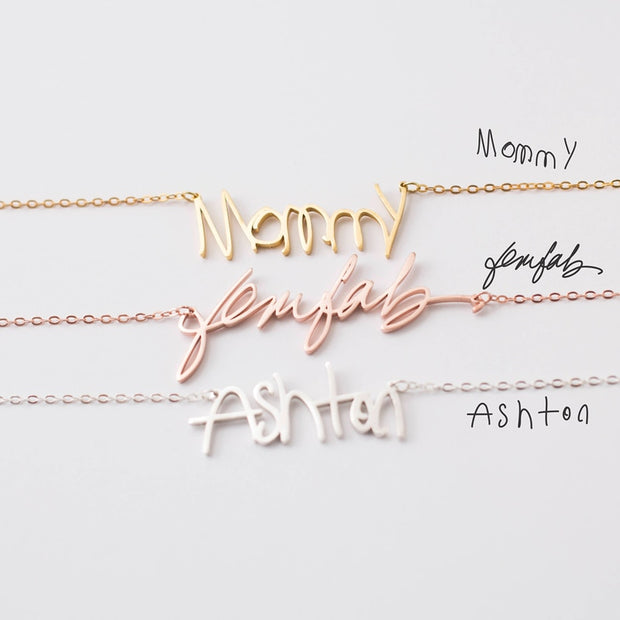 Personalized signature stainless nameplate necklace