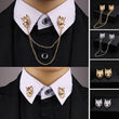 New Chain Wolf Pin Brooches for Men's suit Collar Decorated Wolf Head Shirt Accessories Tide Corsage