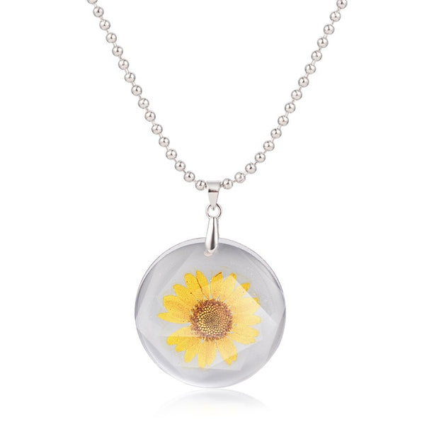 Handmake Daisy Rose Punk Gothic Resin Dried Flower Pendants Charm Necklace