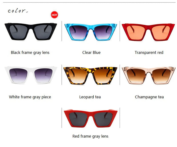 Square glasses Personalized cat eyes Colorful trend versatile sunglasses