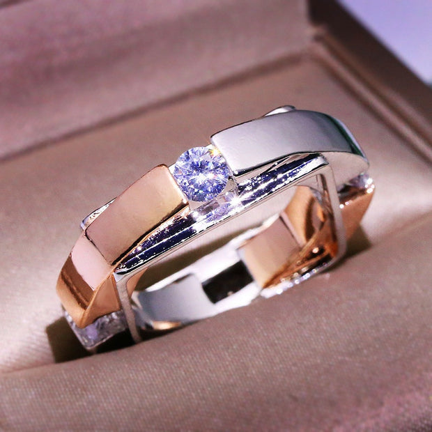 Fashion Silver Rose Gold Crystal Geometric Metal Party Ring Charm Engagement Wedding Rings For Women
