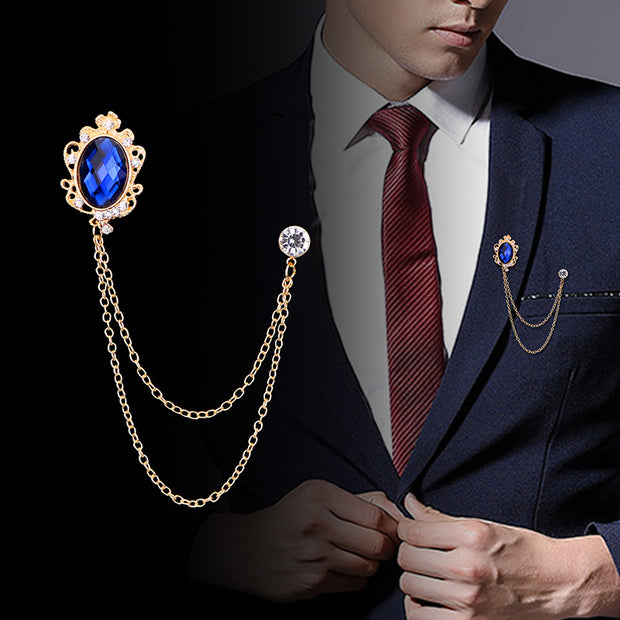 Men's Suit Brooch Badge Luxury Male Suit Corsage Fashion Crystal Tassel Jeweled Pin