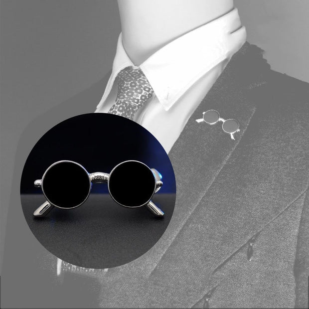 Original Fashion Vintage Cool Sunglass Brooches Pins Badge Gold Medal Brooch Suit Collar Lapel Pin for Men Jewelry Accessories