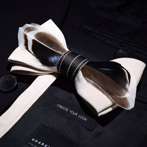 Handmade Luxury Feather Brooch Set Accessories Men's Bowtie Breast-pin Set with Box For Wedding Gift