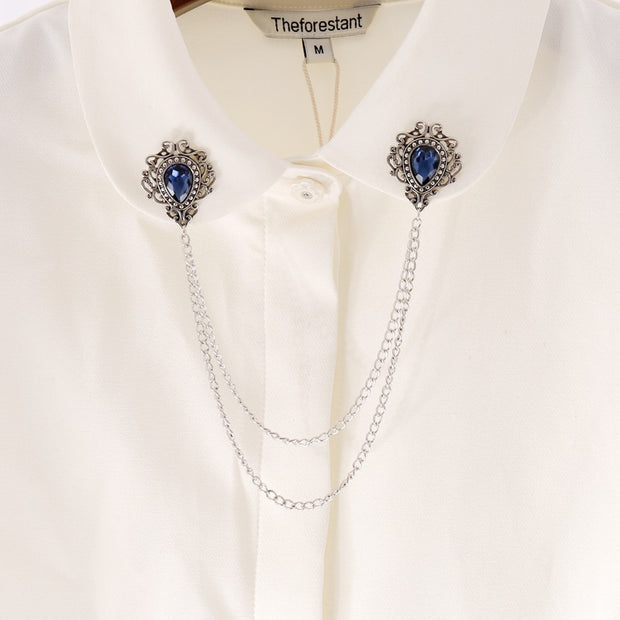 Vintage Badge Crystal Rhinestone Brooches Pins Blue Tassel Chain Suit Shirt Collar Needle Lapel Pin Men Women Fashion Jewelry
