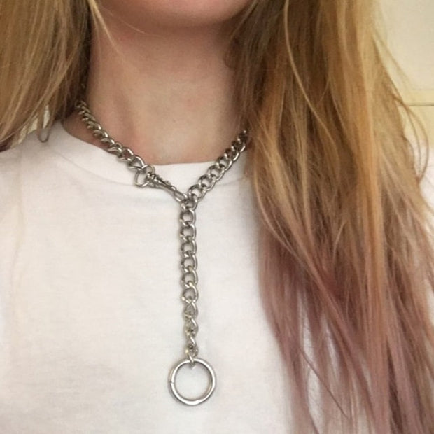 Handmade Silver Lock Pendant Choker for Men & Women / Girl Punk Gothic Chains O- Round Pendant Collar Necklace