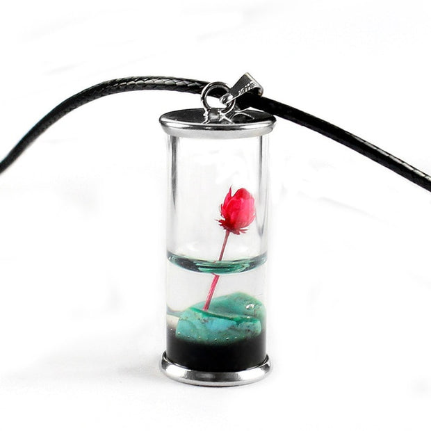 Handmade Dried Flower Lotus Permanent Preservation Rope Transparent Glass Bottle Pendant Necklace