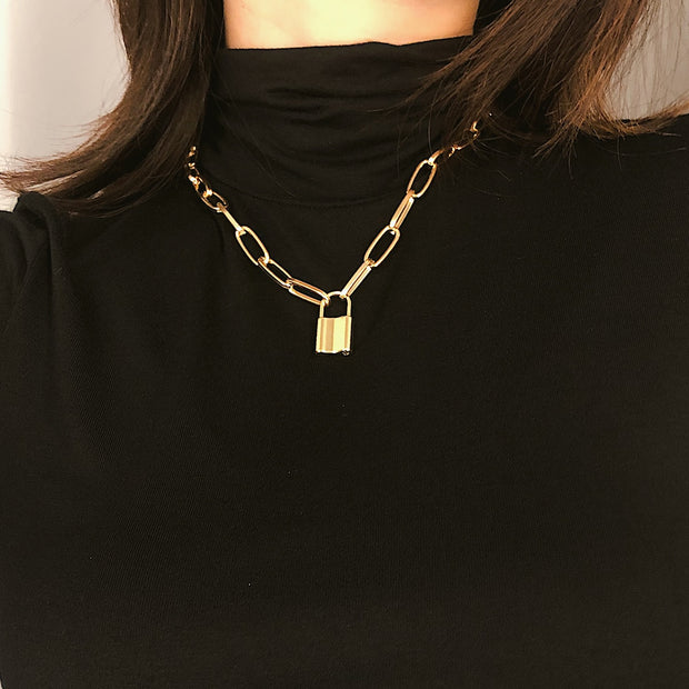 Rock Choker Lock Necklace Layered Chain Punk Jewelry Pendant Necklace