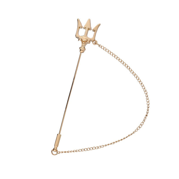 Fashion Metal Trident Brooch Long Needle Tassel Chain Lapel Pins Men's Suit Badge pin
