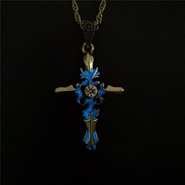 Men Party Vintage Luminous Glow In the Dark Arrow Pendant Classic Alloy Fluorescent Necklace
