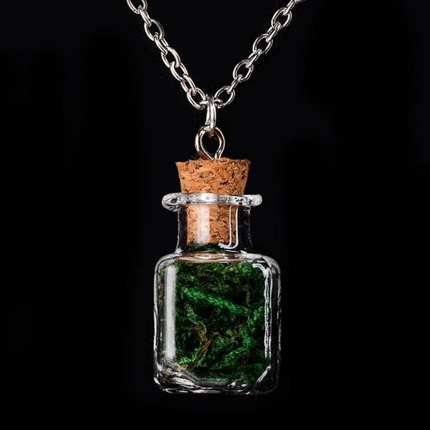 Handmade Dry Flower Plant Clear Glass Bottle Wish Dandelion For Unisex Vintage Pendant Necklace