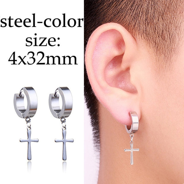 1 pair Punk Black Multiple Styles Stainless/Titanium Steel For Men and Women Gothic Street Pop Hip Hop Stud Earrings