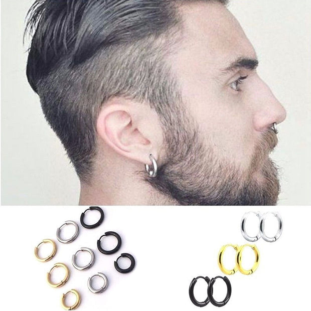 Fashion Women Men Punk Gothic Stainless Steel Simple Round  3 Colors 3 Size Stud Earrings