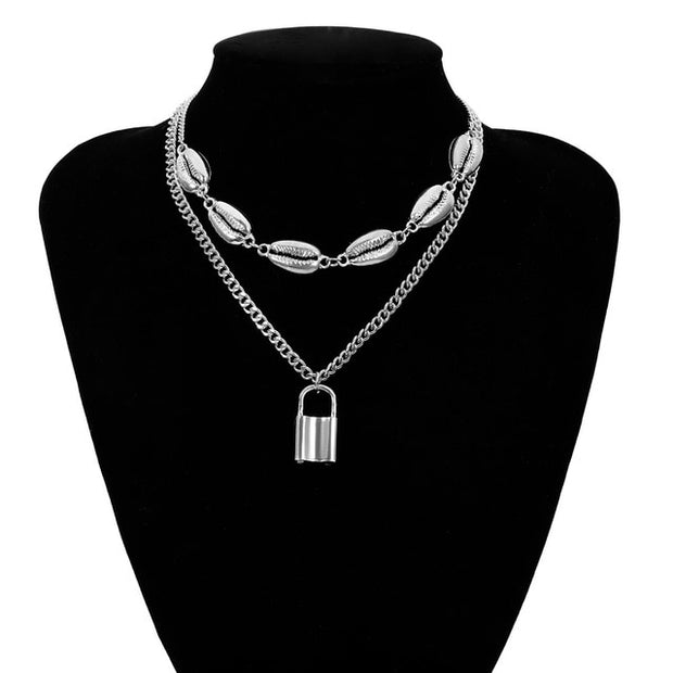 Multi Layer Lover Lock Pendant Choker Necklace Steampunk Padlock Heart Chain Necklace