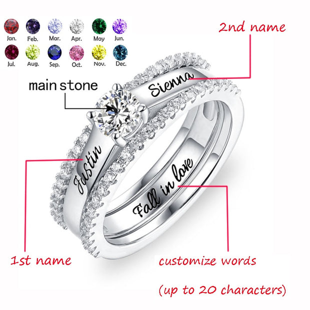 Engraved Promise Ring Lady Birthstone & Name Custom Engagement / Wedding Ring Set With Cubic Zirconia