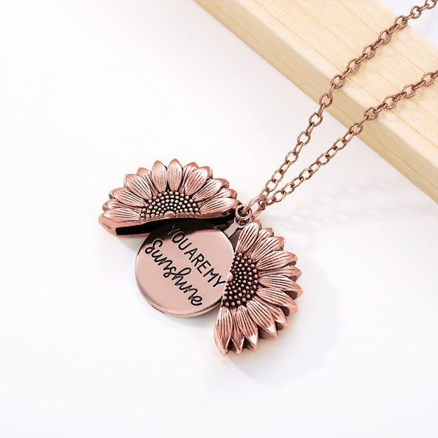 Rose Gold Silver Color Long Chain Sun Flower Pendant Necklace Fashion Jewelry