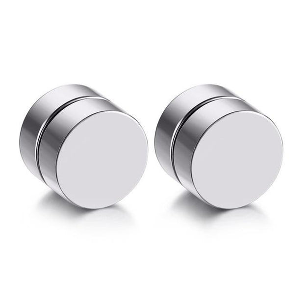 2pcs Punk Mens Strong Magnet Magnetic Ear Stud Set Non-Piercing Earrings