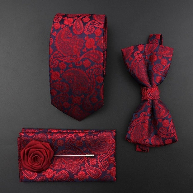 New Silk Tie Set Polyester Necktie / Bowtie Vintage For Groom Business / Wedding Party
