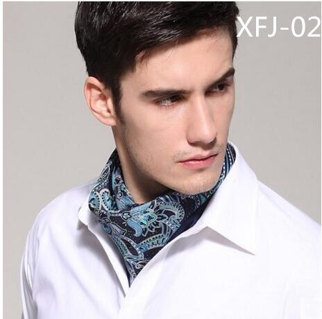Silk men's square black and white hip hop collar British thin scarf