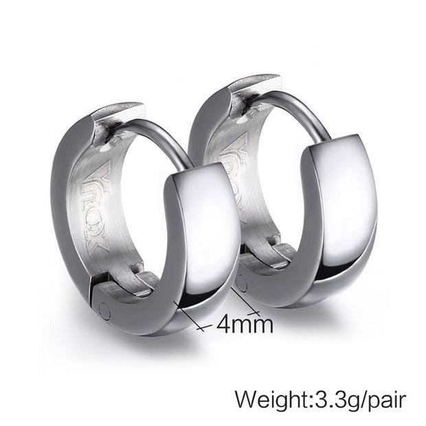 Hoop Earrings for Unisex Punk Stainless Steel 4 Color