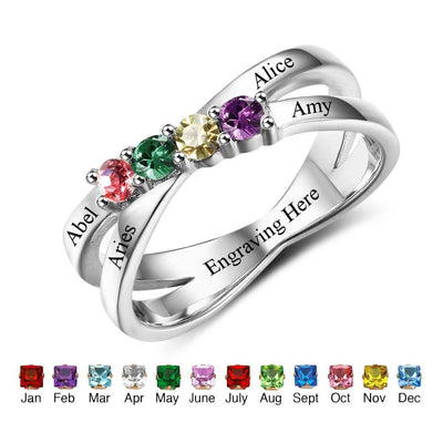 Family & Friendship Ring Engrave Names Custom 4 Birthstone 925 Sterling Silver Mothers Rings Gift For Mom