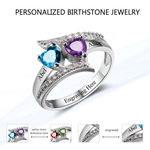 Promise Ring Custom Birthstone Ring Engrave Name 925 Sterling Silver Heart Lover's Rings Personalized Gift