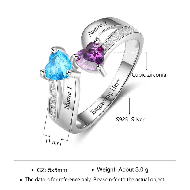 Heart Shape Promise Ring/Engagement ring Personalized Birthstone Engrave 2 Names 925 Sterling Silver Jewelry Gift For Her