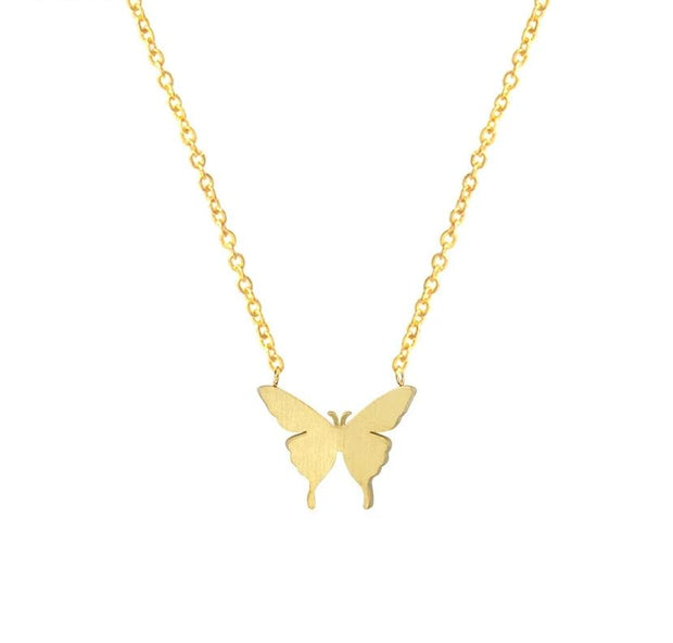 Cute Butterfly Stainless Steel Statement Necklaces Pendant Bohemian Valentine's Day Gift