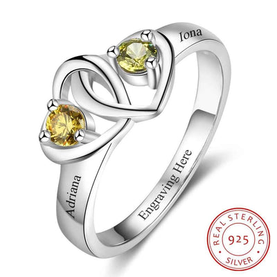 Heart to Heart Personalized Custom Engrave Names & Birthstone Promise Rings 925 Sterling Silver