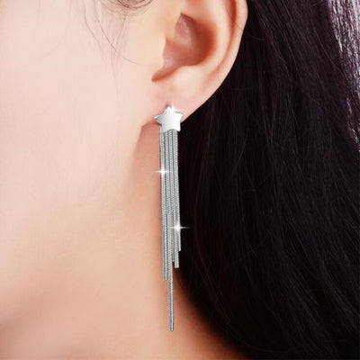Five-pointed Star Fashion Geometric 925 Sterling Silver Tassel earring