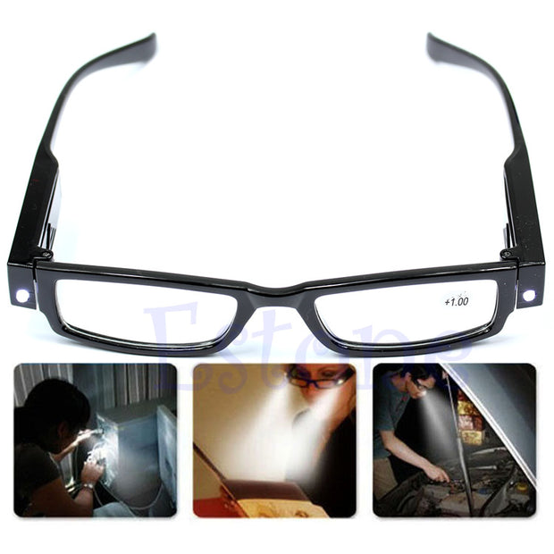 LED Reading Eye-Glasses Unisex Diopter Magnifier Light UP +1.0+4.0