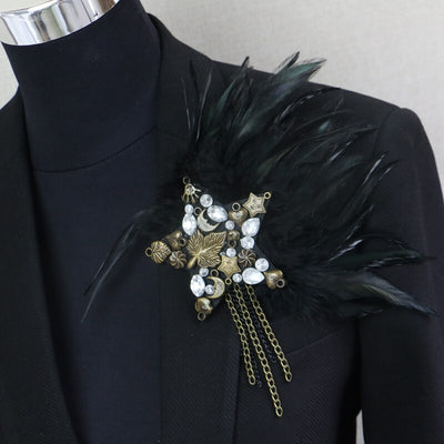 Handmade Rhinestone Star Boutonniere Clips Banquet Brooch Pins Black Feather Anchor Flower Corsage
